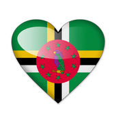 Dominica flag in heart shape isolated on white background — Stock Photo