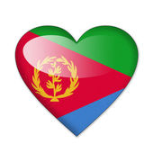 Eritrea flag in heart shape isolated on white background — Stock Photo