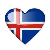 Iceland flag in heart shape isolated on white background — Stock Photo