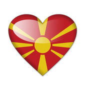 Macedonia flag in heart shape isolated on white background — Stock Photo