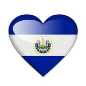 El Salvador flag in heart shape isolated on white background — Stock Photo