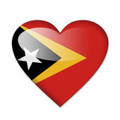 East Timor flag in heart shape isolated on white background — Stock Photo