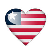 Liberia flag in heart shape isolated on white background — Stock Photo