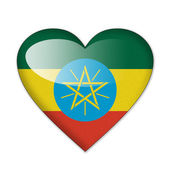 Ethiopia flag in heart shape isolated on white background — Stock Photo