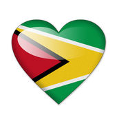 Guyana flag in heart shape isolated on white background — Stock Photo