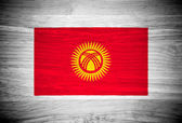 Kyrgyzstan flag on wood texture — Stock Photo