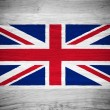 UK flag on wood texture — Stock Photo