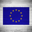 EU flag on wood texture — Stock Photo