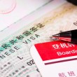 China visa in passport and boarding pass — Stock Photo