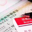 Stock Photo: Chinvisin passport and boarding pass
