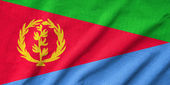 Ruffled Eritrea Flag — Stock Photo