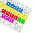 Wording Love on computer keyboard isolated on white background — Stock Photo #35237679