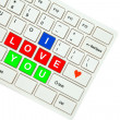 Wording I Love You on computer keyboard isolated on white backgr — Stock Photo #35237375