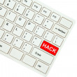 Wording Hack on computer keyboard isolated on white background — Stock Photo