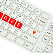 Wording Love on computer keyboard isolated on white background — Stock Photo #35238125
