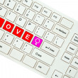 Wording Love on computer keyboard isolated on white background — Stock Photo