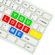 Wording You Love Me on computer keyboard isolated on white backg — Zdjęcie stockowe