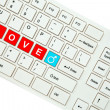 Wording Love on computer keyboard isolated on white background — Stock Photo #35239857