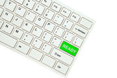 Wording Ready on computer keyboard isolated on white background — Stock Photo