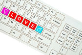 Wording Love on computer keyboard isolated on white background — Foto Stock