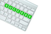 Green success button on computer keyboard isolated on white back — Zdjęcie stockowe