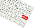 Wording Hack on computer keyboard isolated on white background — Photo