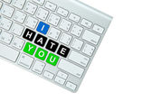 I hate you on computer keyboard isolated on white background — Stok fotoğraf