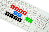 Wording Love on computer keyboard isolated on white background — Stockfoto