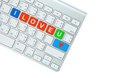 I Love You on computer keyboard isolated on white background — Stok fotoğraf