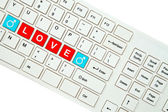 Wording Love on computer keyboard isolated on white background — Foto de Stock