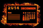 Fire Calendar December 2014 — Stock Photo