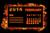 Fire Calendar February 2014 — Stock Photo