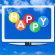 Computer screen with blue sky and word happy — Stock Photo