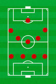 Soccer field layout with formation 4-5-1 — Stock Photo