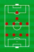 足球场布局形成 4-4-1-1 — 图库照片