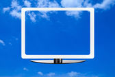 Computer screen on blue sky — Stock Photo