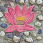 Lotus painting on stone wall decoration — Stock Photo #38551145