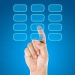 Hand push transparent buttons — Zdjęcie stockowe