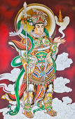 Chinese Warrior Deity Mural — Stock Photo
