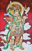 Chinese Warrior Deity Mural — Stock Photo