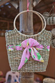 Bamboo wicker bag — Stock Photo