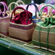 Stock Photo: Colorful bamboo wicker bag