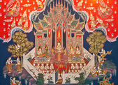 Thai art painting in a temple in Thailand — 图库照片