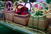 Colorful bamboo wicker bag — Stock Photo