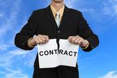 Businessman break contract — Stock Photo