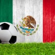 Soccer ball on grass with Mexico flag background — Stock Photo
