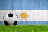 Soccer ball on grass with Argentina flag background — Stock Photo