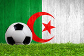 Piłki nożnej na trawie w tle flaga algierii — Zdjęcie stockowe
