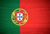 Portugalsko vlajka na texturu dřeva — Stock fotografie