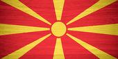 Macedonia flag on wood texture — Stock Photo